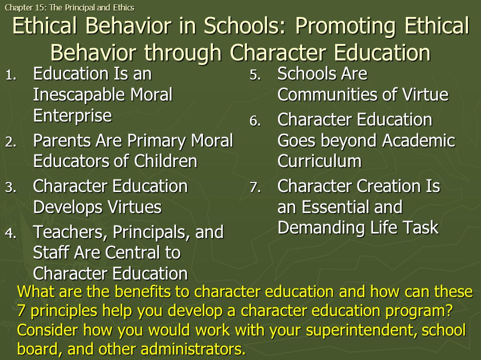 Ethical Behavior in Schools: Promoting Ethical Behavior through Character Education 1.
