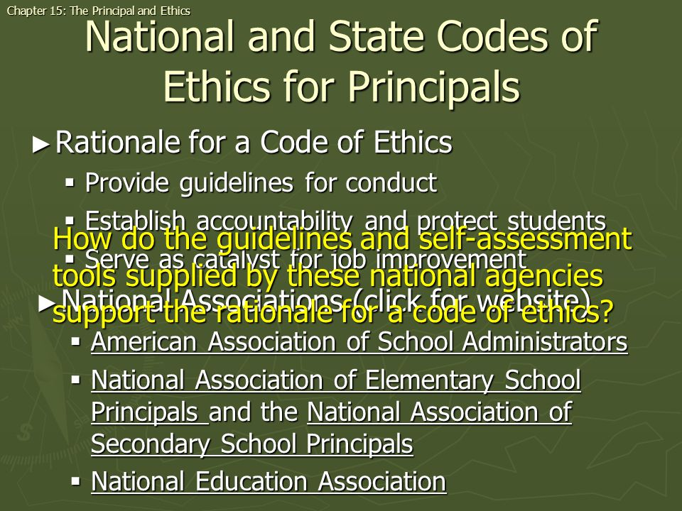 National and State Codes of Ethics for Principals Rationale for a Code of Ethics Rationale for a Code of Ethics Provide guidelines for conduct Provide