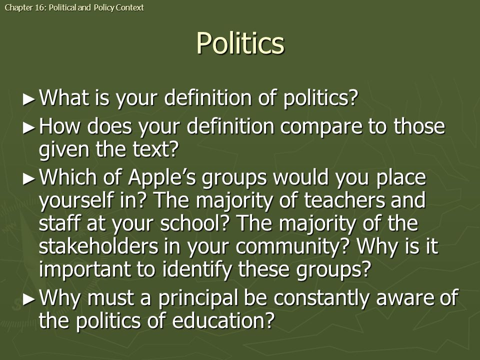 Politics What is your definition of politics.What is your definition of politics.