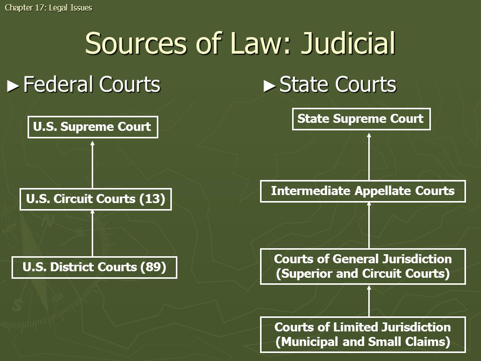 Sources of Law: Judicial Federal Courts Federal Courts Chapter 17: Legal Issues U.S.