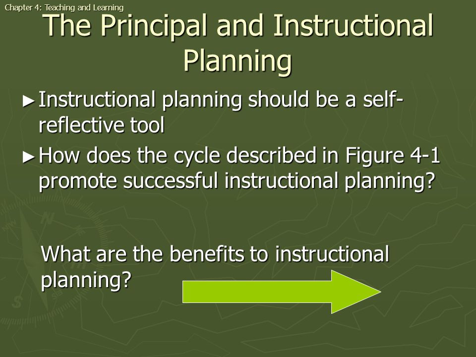 The Principal and Instructional Planning Instructional planning should be a self- reflective tool Instructional planning should be a self- reflective