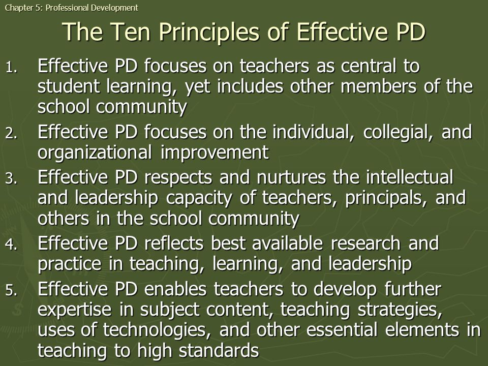 The Ten Principles of Effective PD 1.