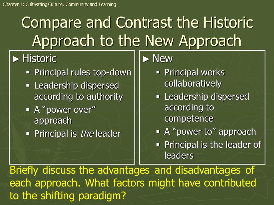 Compare and Contrast the Historic Approach to the New Approach Historic Historic Principal rules top-down Principal rules top-down Leadership disperse