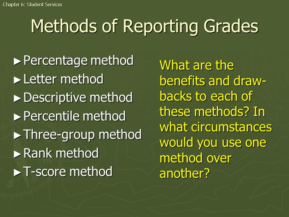 Methods of Reporting Grades Percentage method Percentage method Letter method Letter method Descriptive method Descriptive method Percentile method Pe