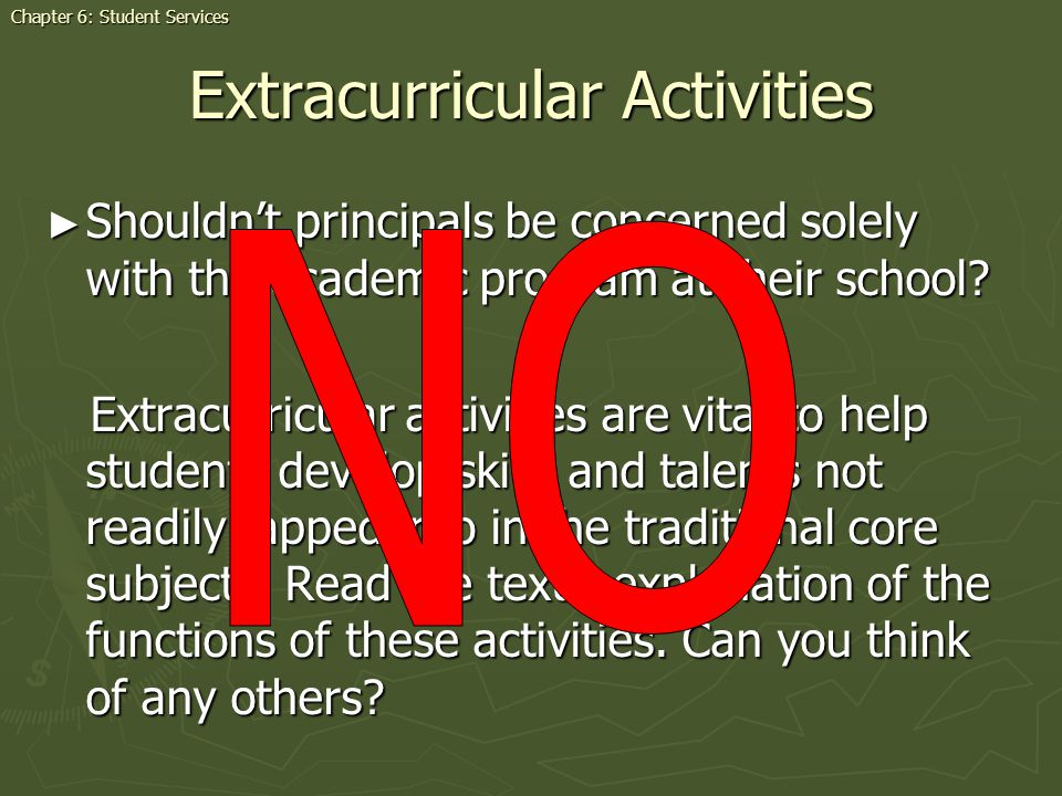 Extracurricular Activities Shouldnt principals be concerned solely with the academic program at their school.