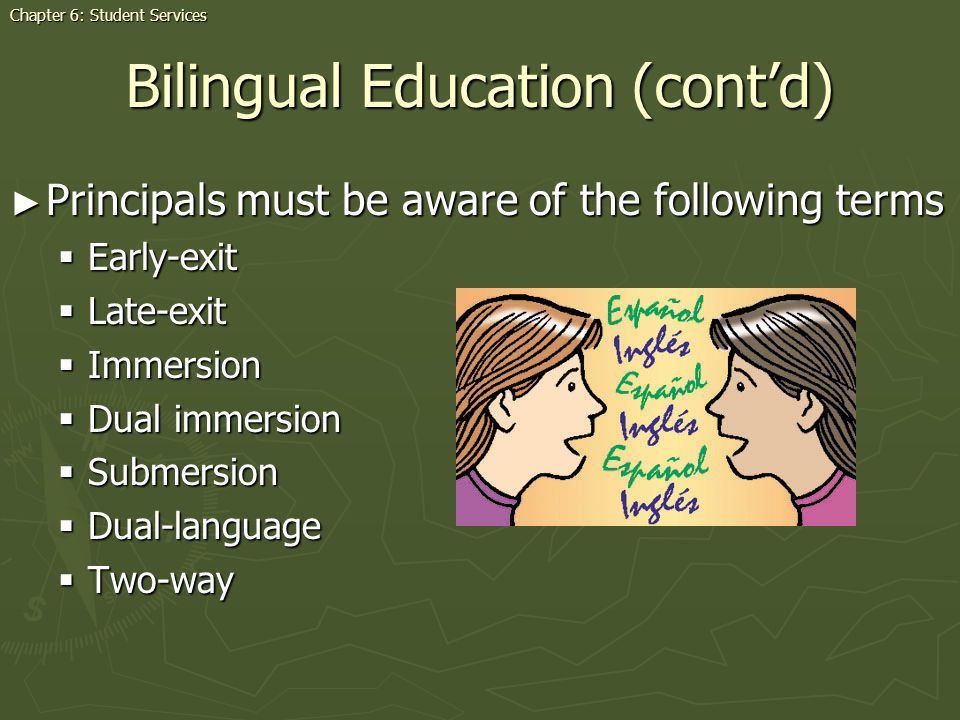 Bilingual Education (contd) Principals must be aware of the following terms Principals must be aware of the following terms Early-exit Early-exit Late
