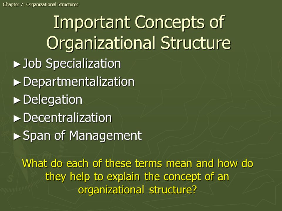 Important Concepts of Organizational Structure Job Specialization Job Specialization Departmentalization Departmentalization Delegation Delegation Decentralization Decentralization Span of Management Span of Management Chapter 7: Organizational Structures What do each of these terms mean and how do they help to explain the concept of an organizational structure?