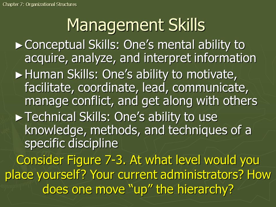 Management Skills Conceptual Skills: Ones mental ability to acquire, analyze, and interpret information Conceptual Skills: Ones mental ability to acquire, analyze, and interpret information Human Skills: Ones ability to motivate, facilitate, coordinate, lead, communicate, manage conflict, and get along with others Human Skills: Ones ability to motivate, facilitate, coordinate, lead, communicate, manage conflict, and get along with others Technical Skills: Ones ability to use knowledge, methods, and techniques of a specific discipline Technical Skills: Ones ability to use knowledge, methods, and techniques of a specific discipline Chapter 7: Organizational Structures Consider Figure 7-3.