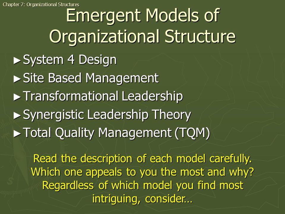 Emergent Models of Organizational Structure System 4 Design System 4 Design Site Based Management Site Based Management Transformational Leadership Tr