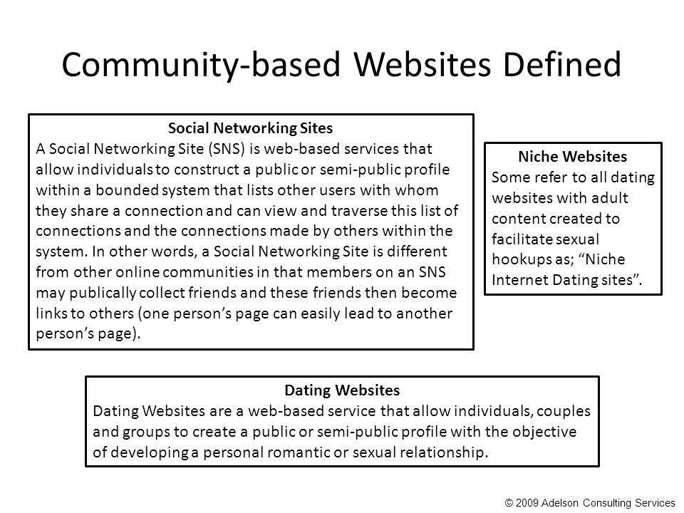 Community-based Websites Defined Social Networking Sites A Social Networking Site (SNS) is web-based services that allow individuals to construct a public or semi-public profile within a bounded system that lists other users with whom they share a connection and can view and traverse this list of connections and the connections made by others within the system.