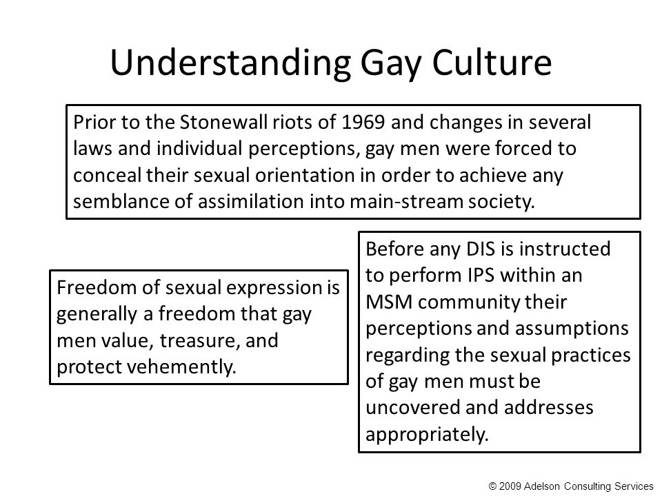 Understanding Gay Culture Freedom of sexual expression is generally a freedom that gay men value, treasure, and protect vehemently.