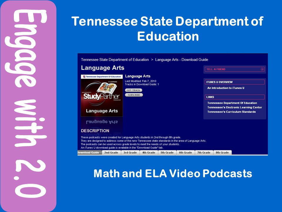 Tennessee State Department of Education Math and ELA Video Podcasts