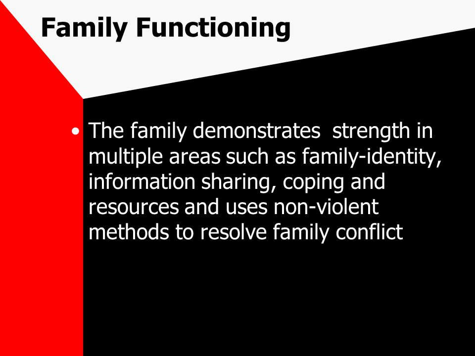 Family Functioning The family demonstrates strength in multiple areas such as family-identity, information sharing, coping and resources and uses non-violent methods to resolve family conflict