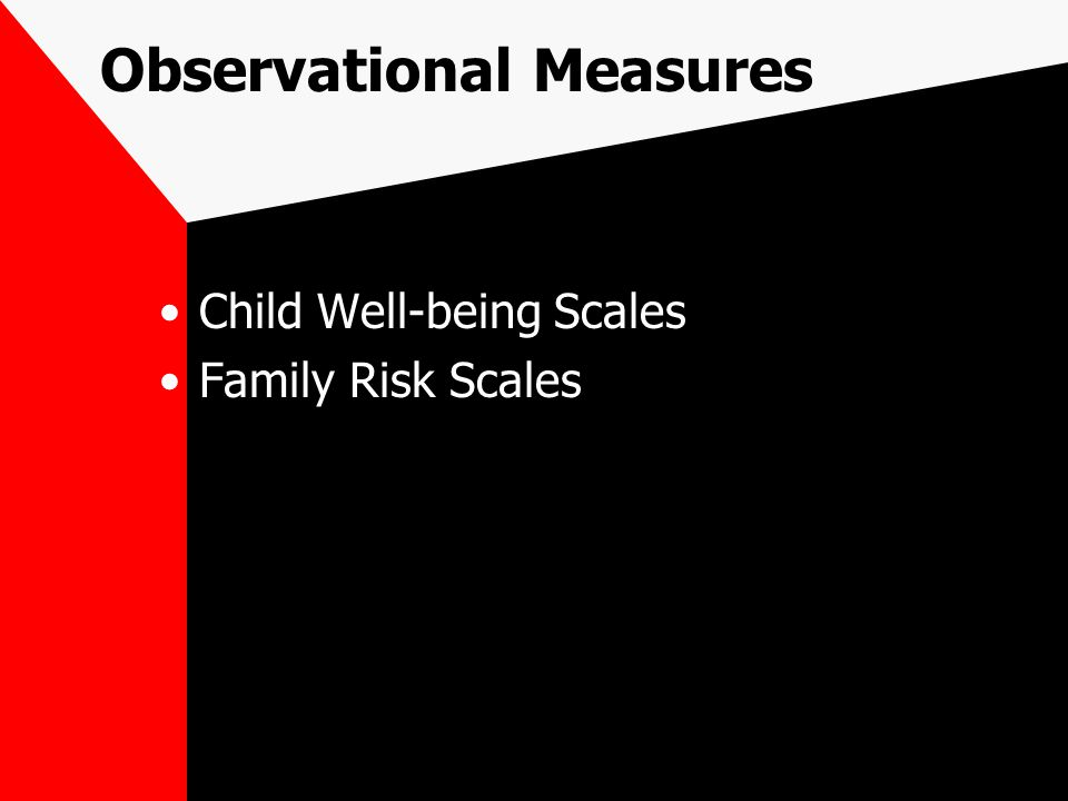 Observational Measures Child Well-being Scales Family Risk Scales