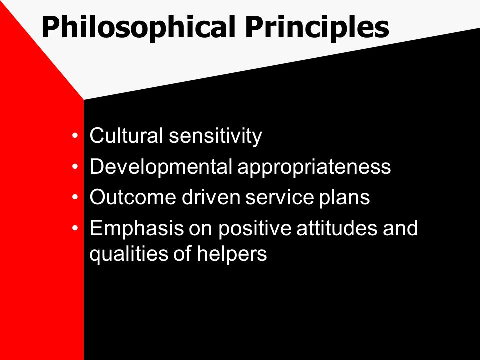 Philosophical Principles Cultural sensitivity Developmental appropriateness Outcome driven service plans Emphasis on positive attitudes and qualities