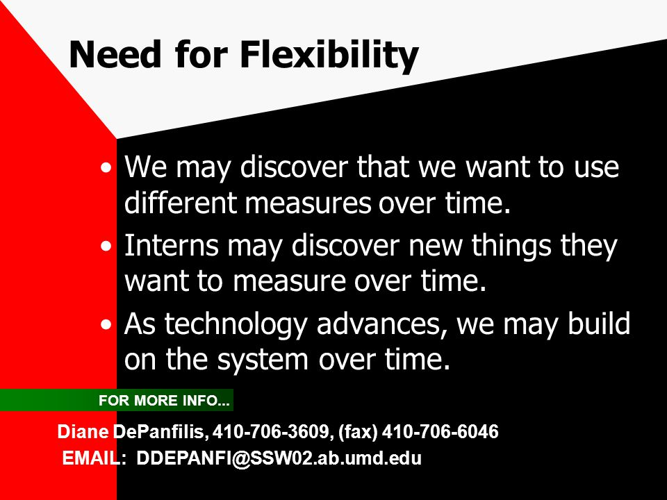 Need for Flexibility We may discover that we want to use different measures over time. Interns may discover new things they want to measure over time.