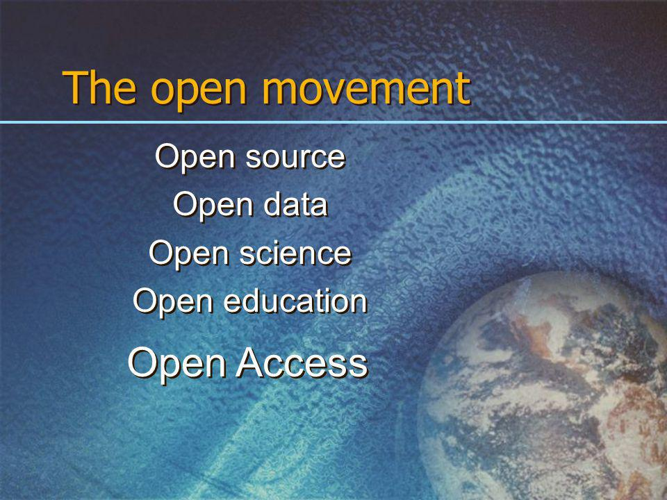 The open movement Open source Open data Open science Open education Open source Open data Open science Open education Open Access