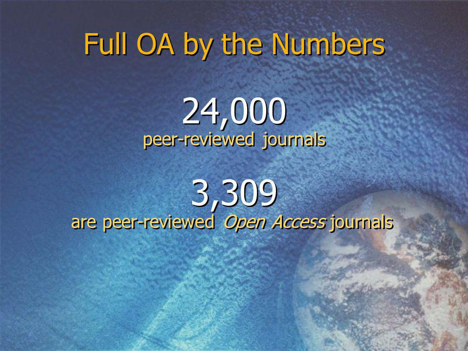 are peer-reviewed Open Access journals Full OA by the Numbers 24,000 peer-reviewed journals 3,309