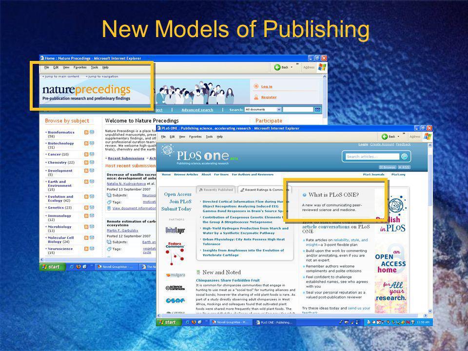 New Models of Publishing