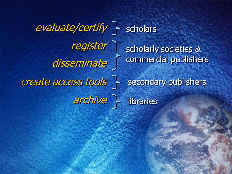 evaluate/certify register archive scholars secondary publishers libraries create access tools disseminate scholarly societies & commercial publishers