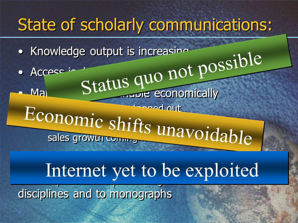 State of scholarly communications: Knowledge output is increasing Access is decreasing Market is unsustainable economically library budgets are tapped out publisher sales are flattening sales growth coming from mergers Disruption is clearest in scientific disciplines Disruption has spread to journals in all disciplines and to monographs Knowledge output is increasing Access is decreasing Market is unsustainable economically library budgets are tapped out publisher sales are flattening sales growth coming from mergers Disruption is clearest in scientific disciplines Disruption has spread to journals in all disciplines and to monographs Status quo not possible Economic shifts unavoidable Internet yet to be exploited