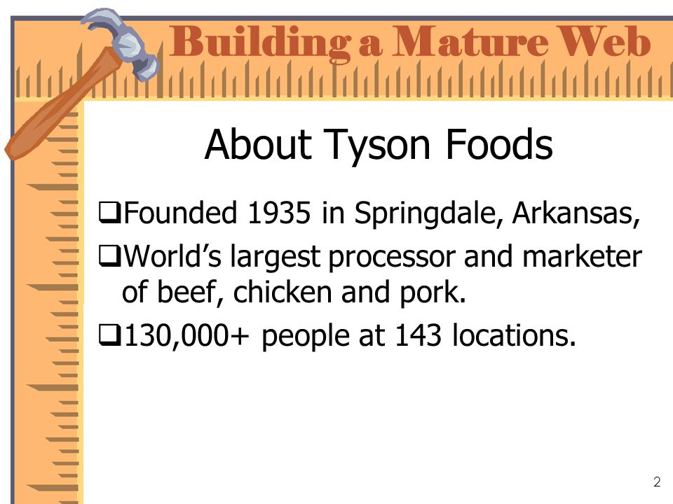 Building a Mature Web 2 About Tyson Foods Founded 1935 in Springdale, Arkansas, Worlds largest processor and marketer of beef, chicken and pork.