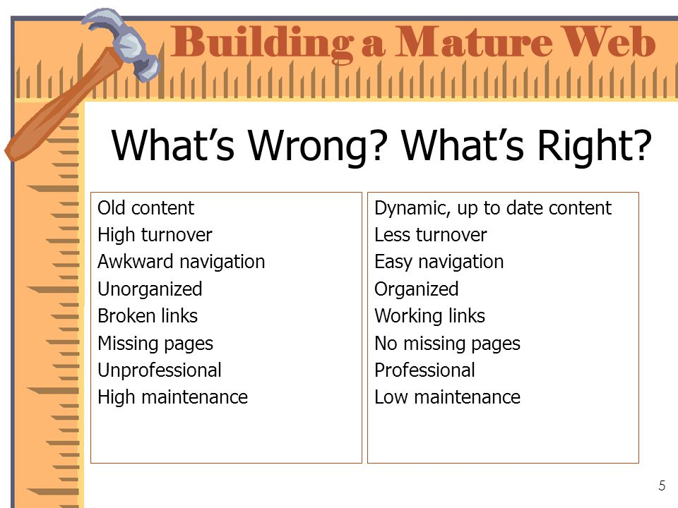 Building a Mature Web 5 Whats Wrong. Whats Right.