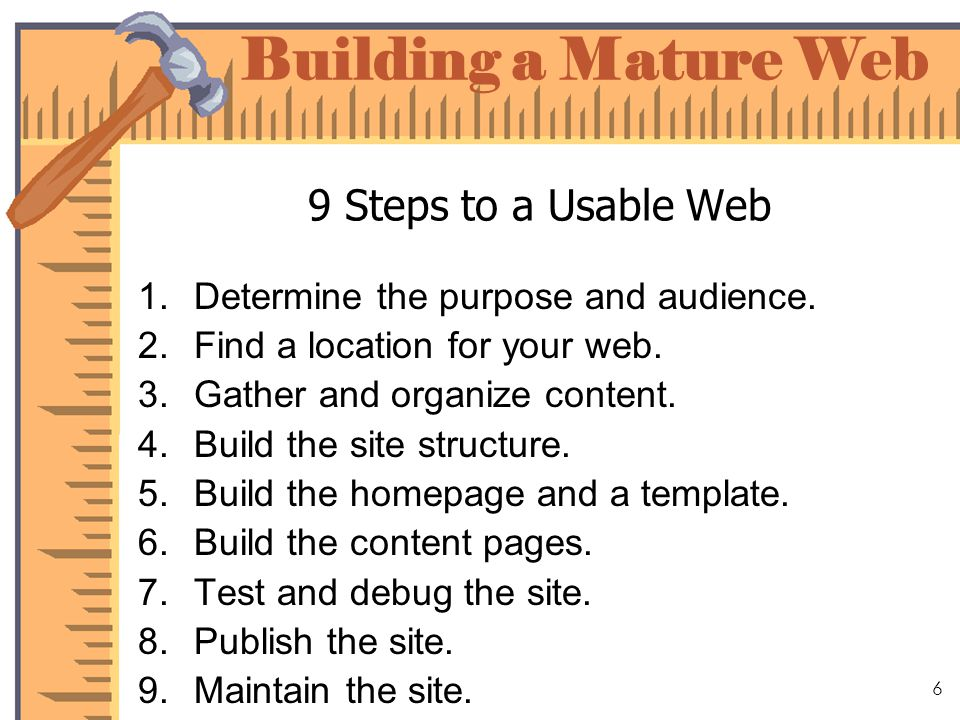 Building a Mature Web 17 Build the Site Structure Use folders to organize Focus on the web designer