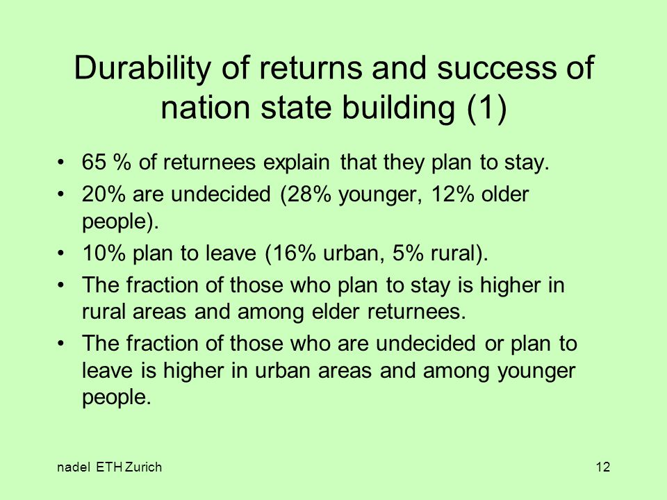 nadel ETH Zurich12 Durability of returns and success of nation state building (1) 65 % of returnees explain that they plan to stay.