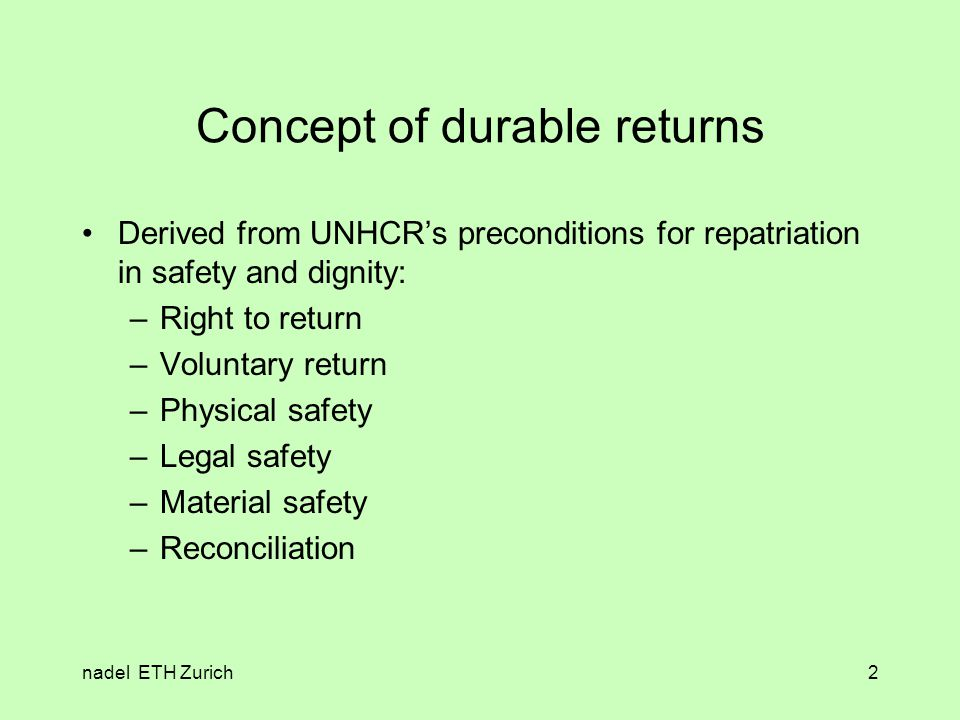 nadel ETH Zurich3 Voluntary returns and assistance More than 90% of the returnees explain that their return was voluntary.