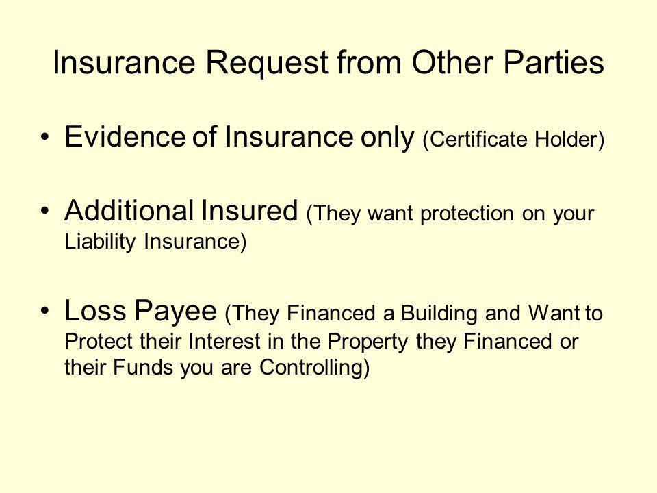 What is A Certificate Holder A certificate holder is someone who only needs evidence that you are insured.