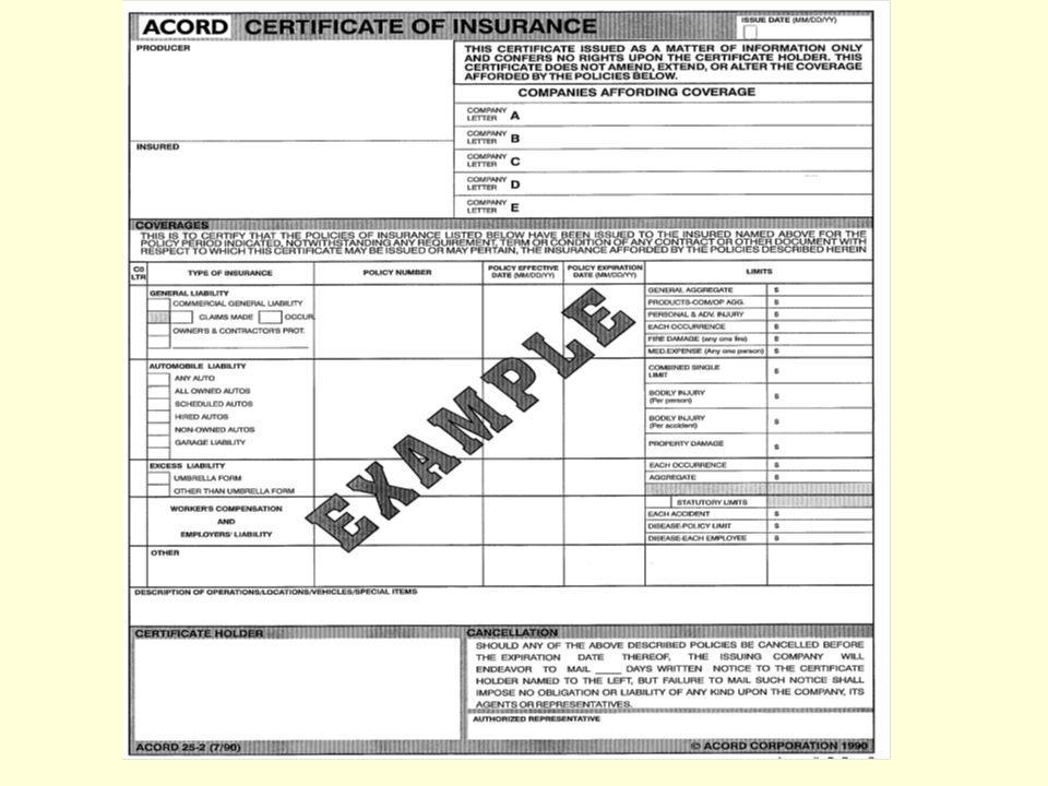 Work we Cannot Issue Certificates for Due to AHRP Exclusions Builders Risk / Property exposures.
