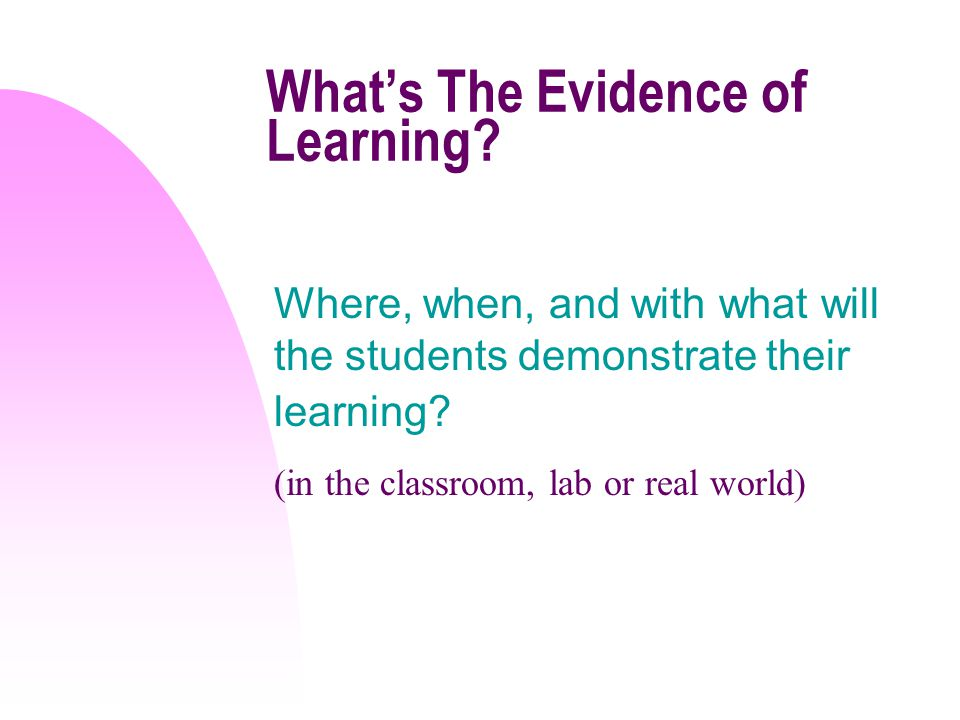 Whats The Evidence of Learning? Where, when, and with what will the students demonstrate their learning? (in the classroom, lab or real world)