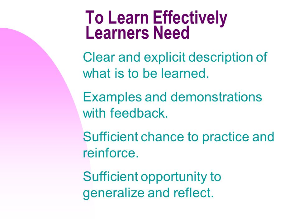 To Learn Effectively Learners Need Clear and explicit description of what is to be learned.