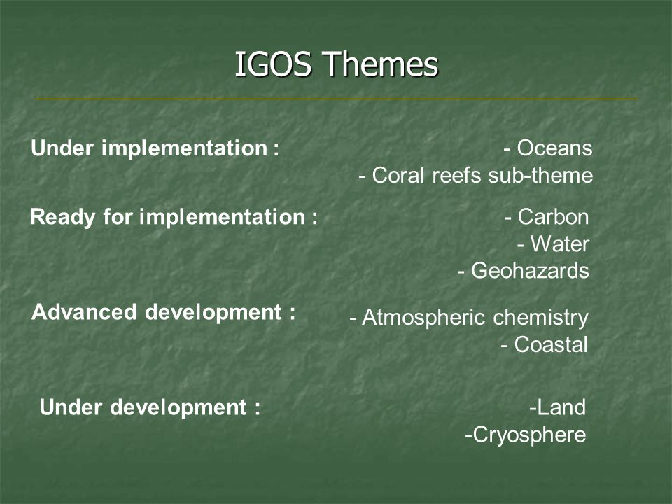 IGOS Themes - Oceans - Coral reefs sub-theme - Atmospheric chemistry - Coastal - Carbon - Water - Geohazards -Land -Cryosphere Under implementation : Ready for implementation : Advanced development : Under development :