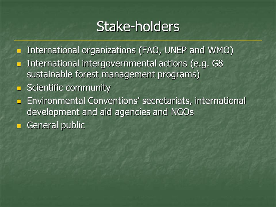 Stake-holders International organizations (FAO, UNEP and WMO) International organizations (FAO, UNEP and WMO) International intergovernmental actions (e.g.