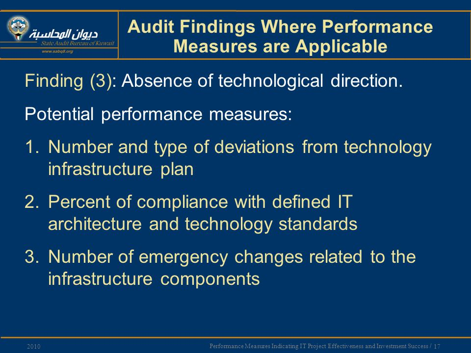 Performance Measures Indicating IT Project Effectiveness and Investment Success / 17 2010 Audit Findings Where Performance Measures are Applicable Finding (3): Absence of technological direction.