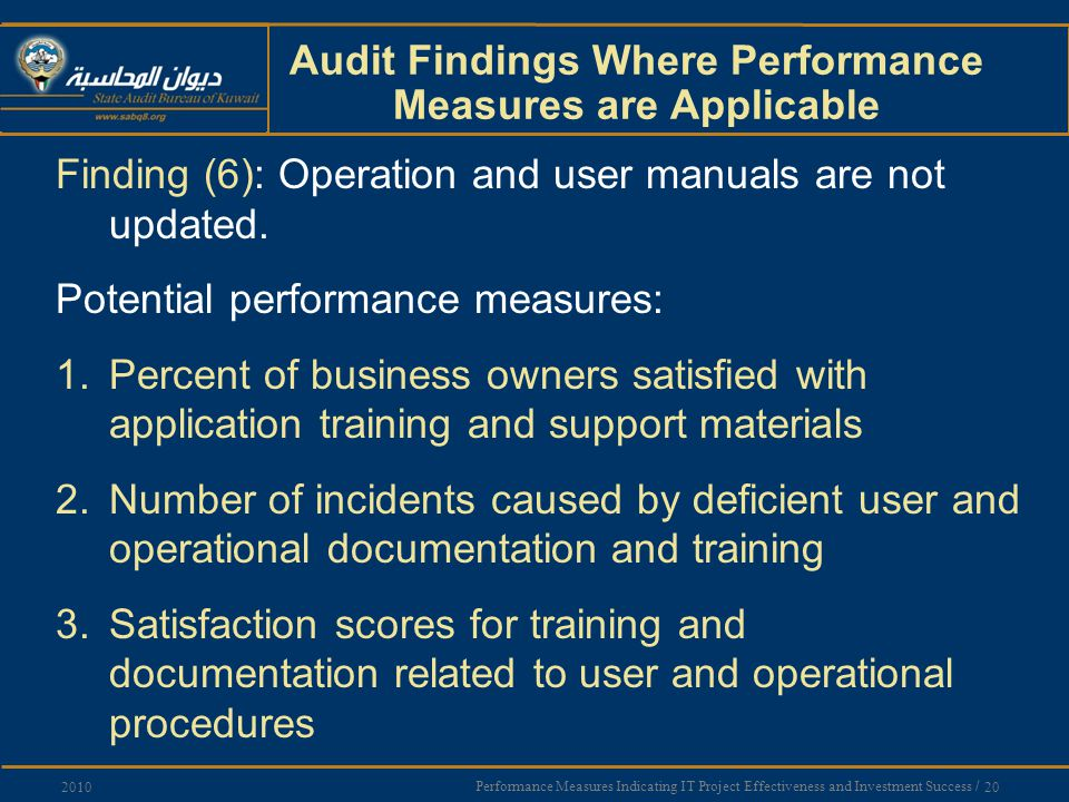 Performance Measures Indicating IT Project Effectiveness and Investment Success / 20 2010 Audit Findings Where Performance Measures are Applicable Finding (6): Operation and user manuals are not updated.