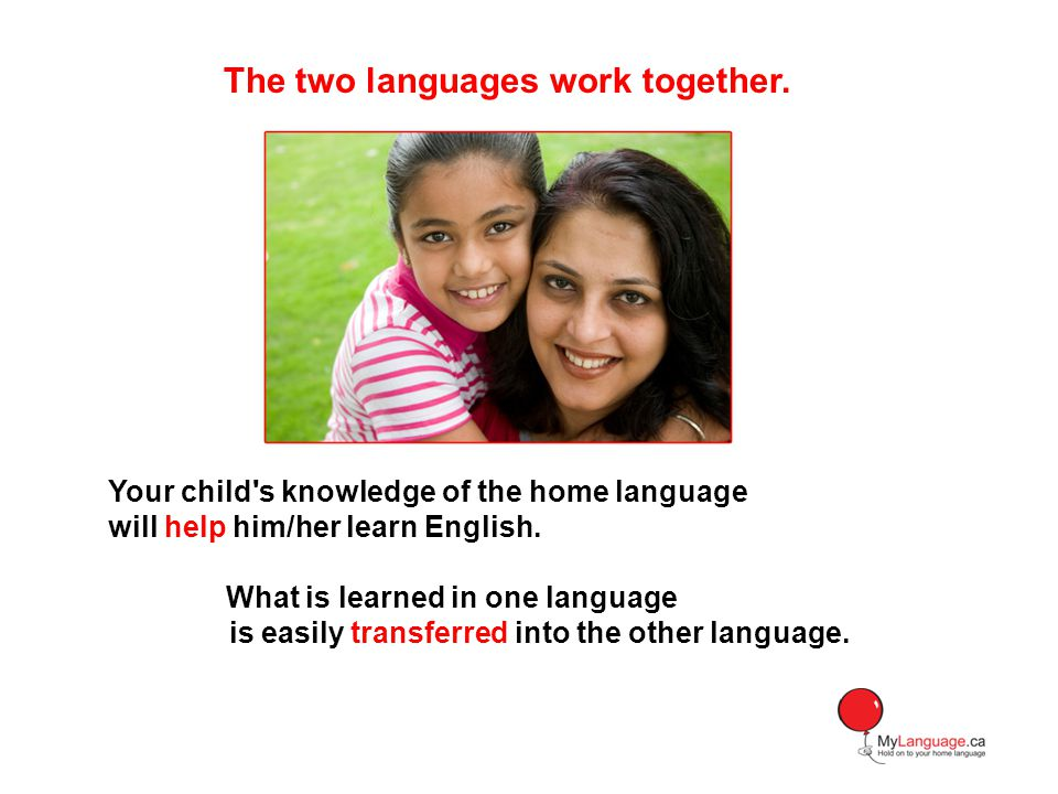 Your child s knowledge of the home language will help him/her learn English.