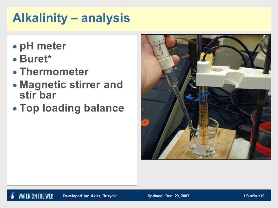 Developed by: Axler, Ruzycki Updated: Dec. 29, 2003 U3-m9a-s10 Alkalinity – analysis pH meter Buret* Thermometer Magnetic stirrer and stir bar Top loa