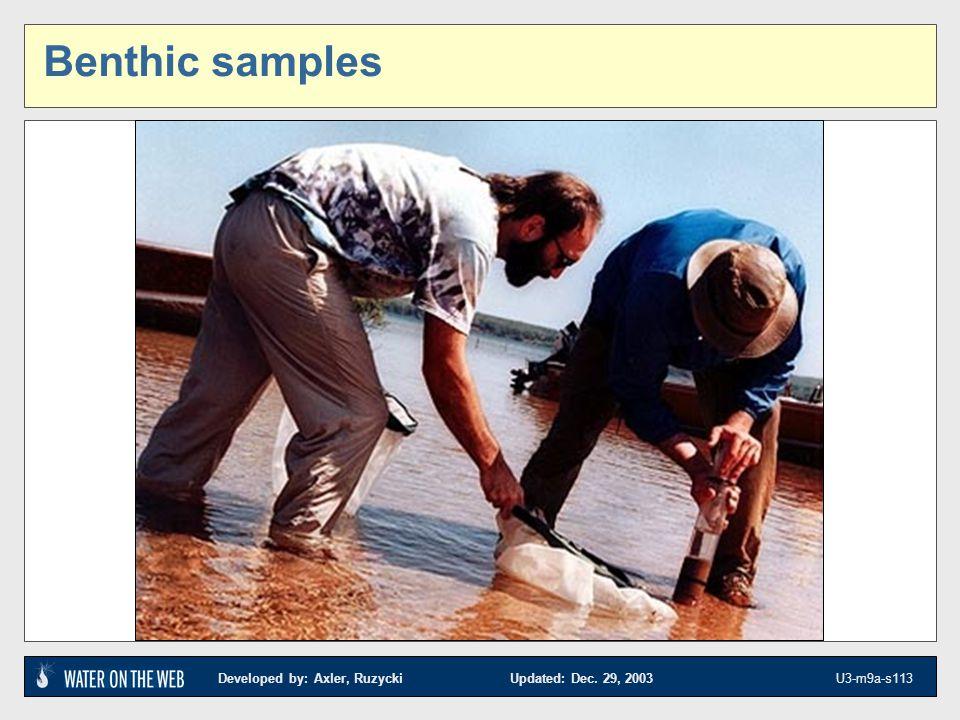 Developed by: Axler, Ruzycki Updated: Dec. 29, 2003 U3-m9a-s113 Benthic samples