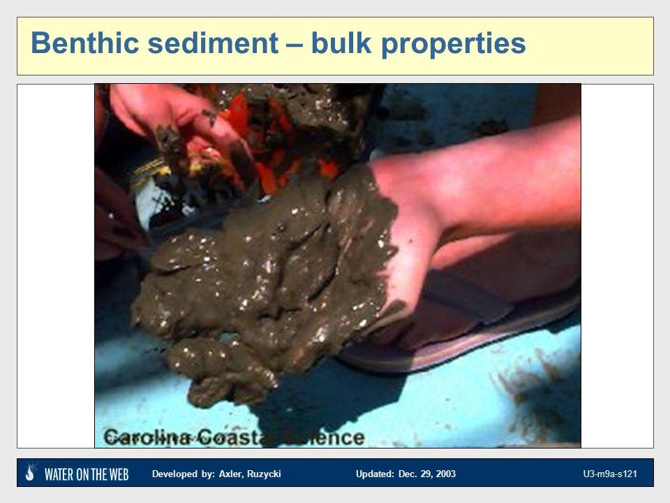 Developed by: Axler, Ruzycki Updated: Dec. 29, 2003 U3-m9a-s121 Benthic sediment – bulk properties