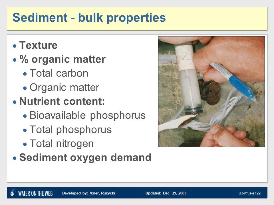 Developed by: Axler, Ruzycki Updated: Dec. 29, 2003 U3-m9a-s122 Sediment - bulk properties Texture % organic matter Total carbon Organic matter Nutrie