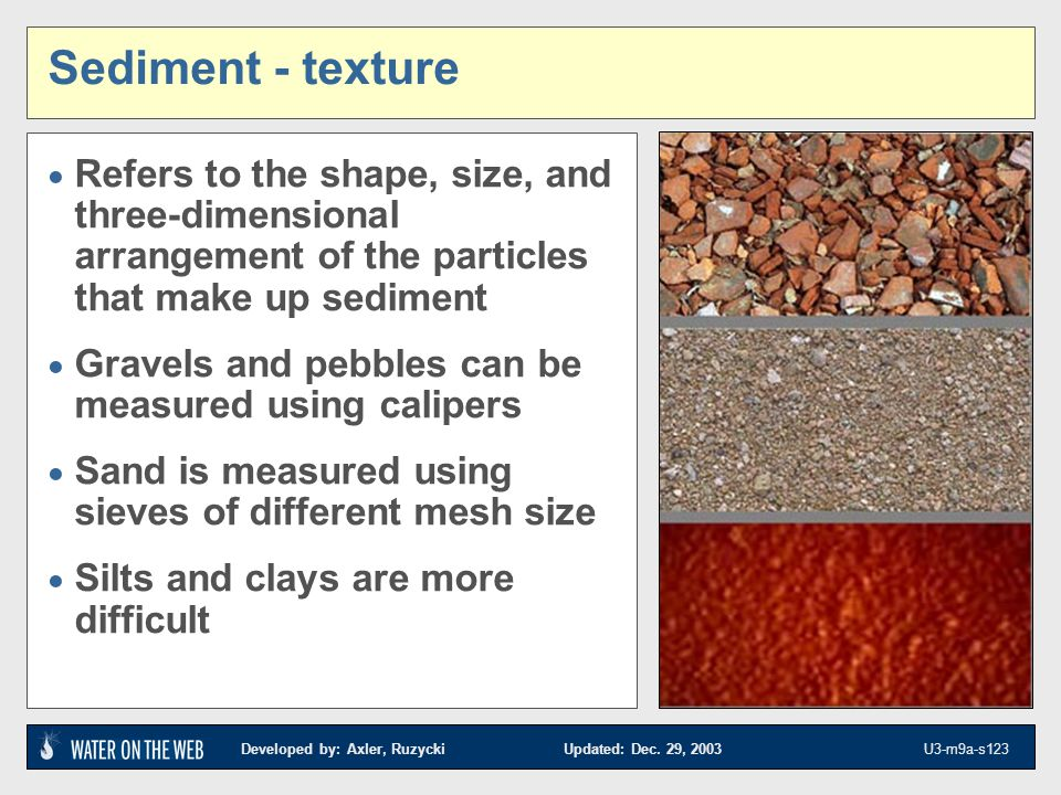 Developed by: Axler, Ruzycki Updated: Dec. 29, 2003 U3-m9a-s123 Sediment - texture Refers to the shape, size, and three-dimensional arrangement of the