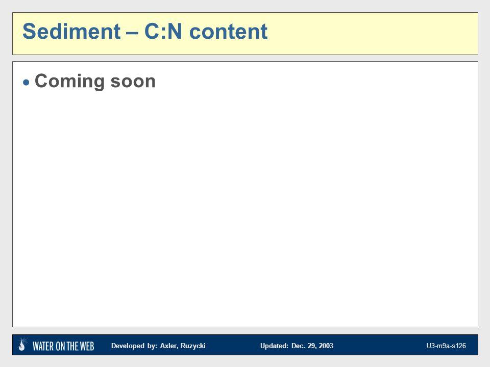 Developed by: Axler, Ruzycki Updated: Dec. 29, 2003 U3-m9a-s126 Sediment – C:N content Coming soon