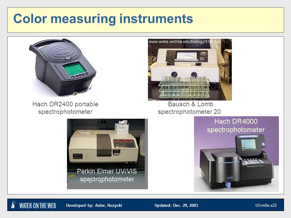 Developed by: Axler, Ruzycki Updated: Dec. 29, 2003 U3-m9a-s22 Color measuring instruments Hach DR2400 portable spectrophotometer Bausch & Lomb spectr