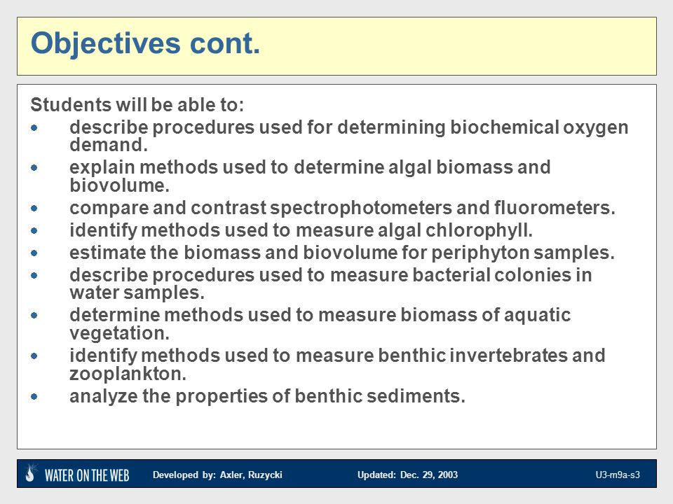 Developed by: Axler, Ruzycki Updated: Dec. 29, 2003 U3-m9a-s3 Objectives cont. Students will be able to: describe procedures used for determining bioc