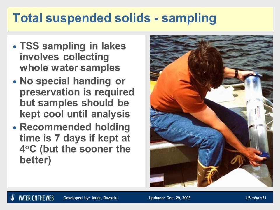 Developed by: Axler, Ruzycki Updated: Dec. 29, 2003 U3-m9a-s31 Total suspended solids - sampling TSS sampling in lakes involves collecting whole water