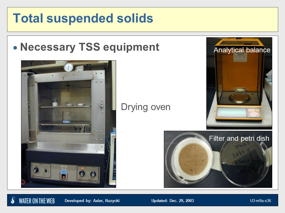 Developed by: Axler, Ruzycki Updated: Dec. 29, 2003 U3-m9a-s36 Necessary TSS equipment Drying oven Analytical balance Filter and petri dish Total susp