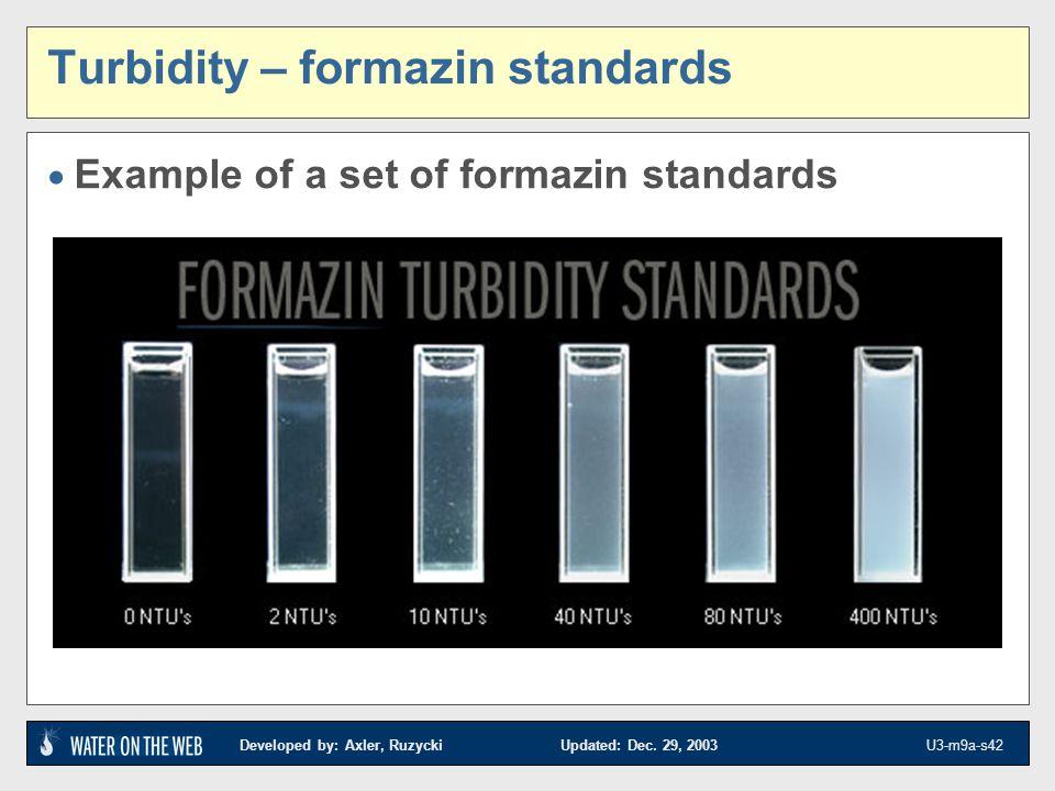 Developed by: Axler, Ruzycki Updated: Dec. 29, 2003 U3-m9a-s42 Turbidity – formazin standards Example of a set of formazin standards